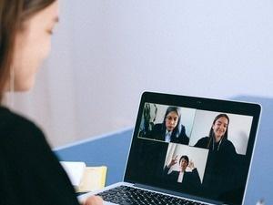 Woman on virtual computer call