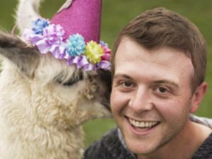 Derek Knopsnyder with llama
