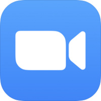 Zoom logo, white video camera on a blue square, rounded corners