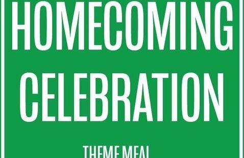 text that says homecoming celebration theme meal