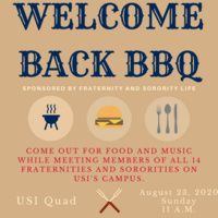 USI Welcome Week: Welcome Back BBQ information included in the event description along with images of a grill, hamburger and silverware