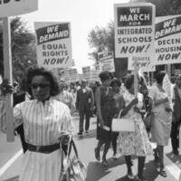 Photo showing a 1960s civil rights march.