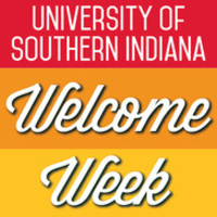 University of Southern Indiana Welcome Week text on red, orange and yellow background