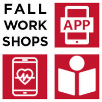 "Black text reading ""Fall Workshops"" and three red icons of a phone saying ""app"", a person reading, and a phone with a heart and pulse line within."