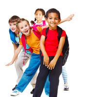 Children in backpacks