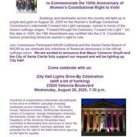 Join Us for the City Hall Drive By Commemorating the 100th Anniversary of Women's Right to Vote