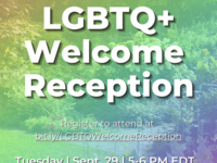 Image with a rainbow tinted photo of a garden; text reads: LGBTQ+ Welcome Reception, Register to attend at https://cornell.zoom.us/meeting/register/tJAqcequqjIuHdBp4qYXFn4Q4b76i7fb-SKK, Tuesday 9/29, 5-6PM
