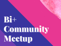 Pink, purple and blue background. Text reads: BI+ community meetup, Wednesday 9/23 7 PM EDT