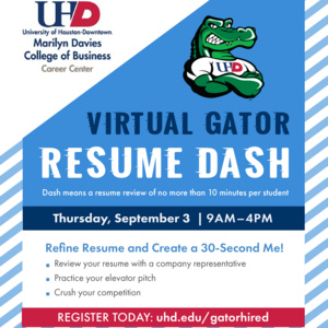 Davies Virtual Gator Resume Dash / Elevator Pitch