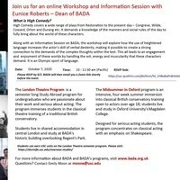 BADA, UK Acting Workshop and Info Session with Dean Eunice Roberts