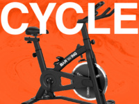 A black stationary exercise bike on an orange background with white text overlay that says CYCLE.