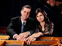 Marina Lomazov (right) and Joseph Rackers (left) at the piano