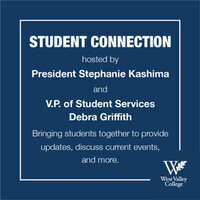 Student Connection white text on blue background and WVC logo