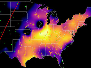Radar enhanced to show bird migration movements and intensity. Cornell Lab of Ornithology.