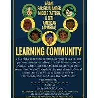 navy blue informational flyer with yellow text and 7 clipart images of student faces containing information about the APIMEDA Learning Community.