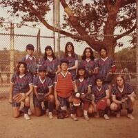 Neal Salvin, Women's Intermural Softball Team of Warner Communications, Inc., New York, N.Y. 1979, Contact print on Kodak Ektacolor 75 RC-N paper Edition: 47/75, Gift of Carla Stellweg