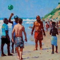 """Soccer at Aquinnah"" Oil on Canvas by Kate Huntington"