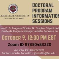 Doctoral information Session October 9 at 12 pm