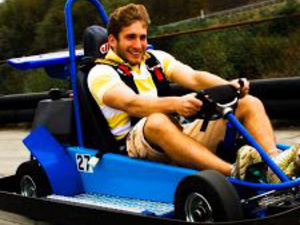 Young man driving a go-kart