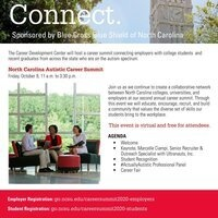 North Carolina Autistic Career Summit - Friday, October 9 from 11am - 3:30pm.  This event is virtual and free and you can register online at go,ncsu.edu/careersummitt2020-students or contact wjwade@ncsu.edu - A collaborative network between NC colleges and universities and employers at the second annual career summit.  Through this event we will educate, encourage, recruit, and build a community that values the diverse set of skills our students bring to the workplace.