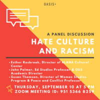 OASIS+ and Faculty Panel: Hate Culture and Racism at Colgate & Beyond