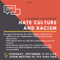 OASIS+ Student Discussion: Hate Culture and Racism at Colgate Pt. 2