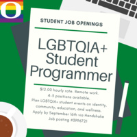 Apply to be a LGBTQIA+ Student Programmer!