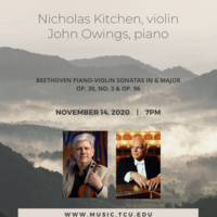 Faculty and Guest Artist Series: Nicholas Kitchen, violin and John Owings, piano