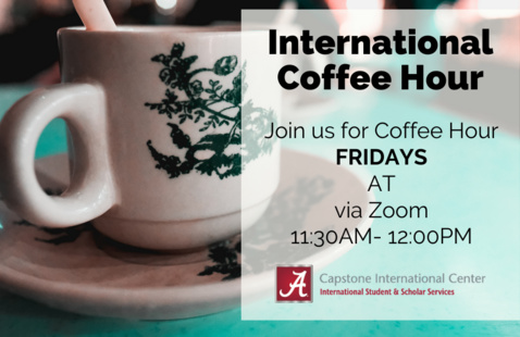International Coffee Hour on Fridays via Zoom from 11:30am-12pm