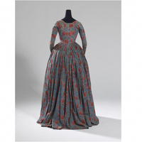 Woman's overdress. Around 1783. Dress made in England of Indian painted export cotton, hand-drawn, mordant-dyed, resist-dyed.