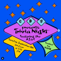 Club Downunder Presents: Trivia Night featuring the ASLC, Tuesday, September 8th on Zoom at 7:30PM hosted by Hank