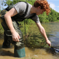 Young man doing biology research in local river