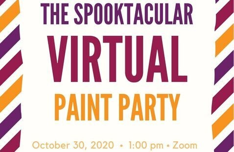 Graphic announcing the Spooktacular Virtual Paint Party.