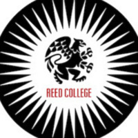 "Black circle with white starburst - black griffin in the middle above the words ""Reed College"""
