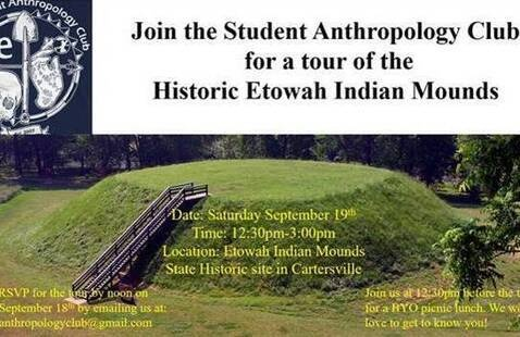 tour of the Historic Etowah Indian Mounds in Cartersville on Saturday September 19th, 12:30-3pm