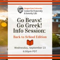 Go Beavs! Go Greek! Info Session - Back to School Edition