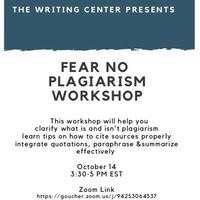 Fear No Plagiarism Workshop