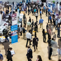 Aerial view of in-person career fair.
