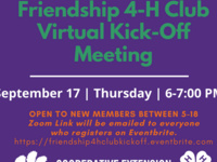 Friendship 4-H Club Virtual Kick-Off Meeting