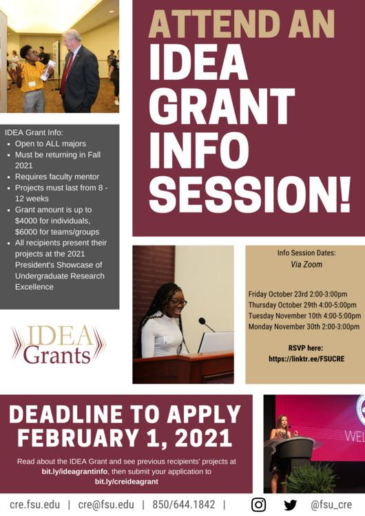 Fsu Calendar Fall 2021 2021 IDEA Grant Info Session   Florida State University Calendar