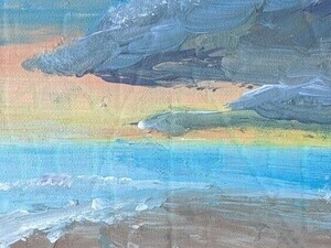 painting of beach at sunset