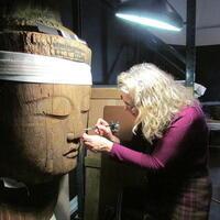 Ingrid Neuman, Senior Conservator, working on the Japanese, Buddha Mahavairocana (Dainichi Nyorai), ca. 1150-1200. Museum Appropriation Fund.