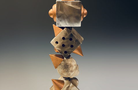 Totem #19, pit fired ceramic with patina, 2020