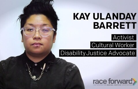 Photo of Kay Ulanday Barrett (Text: Kay Ulanday Barrett: Activist, Cultural Worker, Disability Justice Advocate)