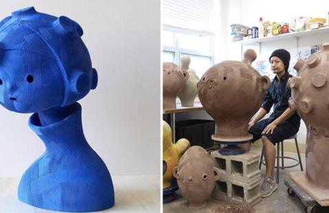 En Iwamura and his sculptures
