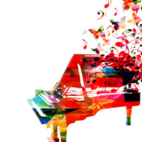 Colorful piano with music notes
