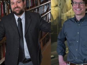 Left to right: Stephen Logsdon, archivist; Philip Skroska, archivist, Becker Medical Library