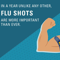 "Arm with bandage on it and the text, ""In a year unlike any other, flu shots are more important than ever."""
