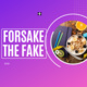 Forsake the fake text with a purple gradient background. to the right side there is a picture of food in a circle