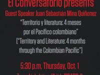 """El Conversatorio  presents """"Territorio y literatura: 4 mesespor el Pacífico colombiano"""""""